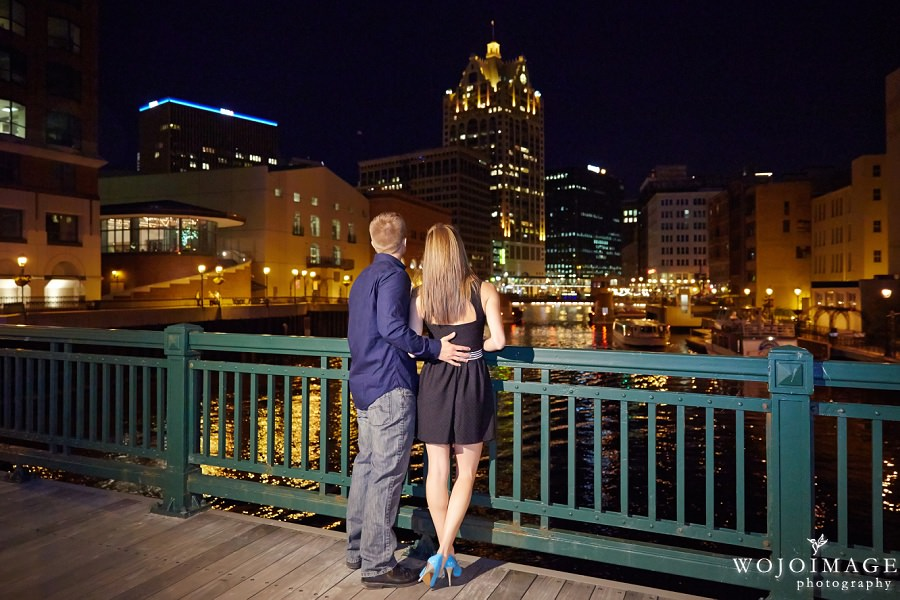 Downtown Milwaukee Evening Engagement Photos
