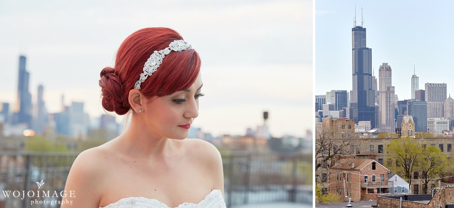 Lacuna Artist Loft Studios Chicago Rooftop Editorial Wedding