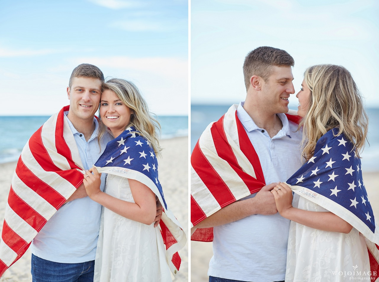 Engagement Photos with the US Flag
