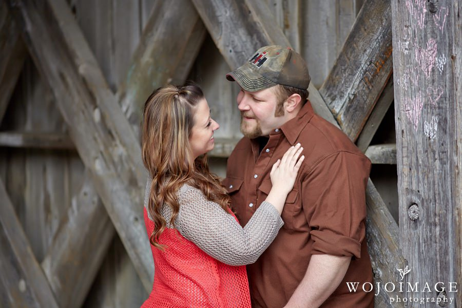 Winter Engagement Session with a Wood Bridge