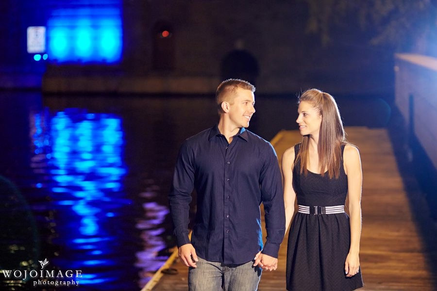 Downtown Milwaukee Night Engagement Photos