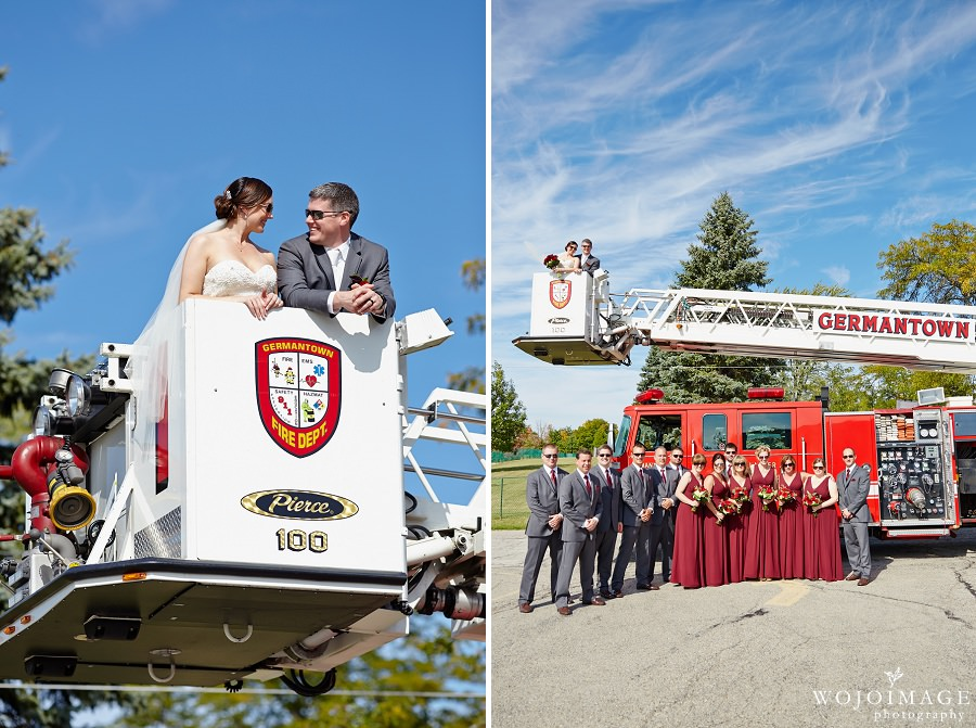 Bride and Groom with Fire Truck