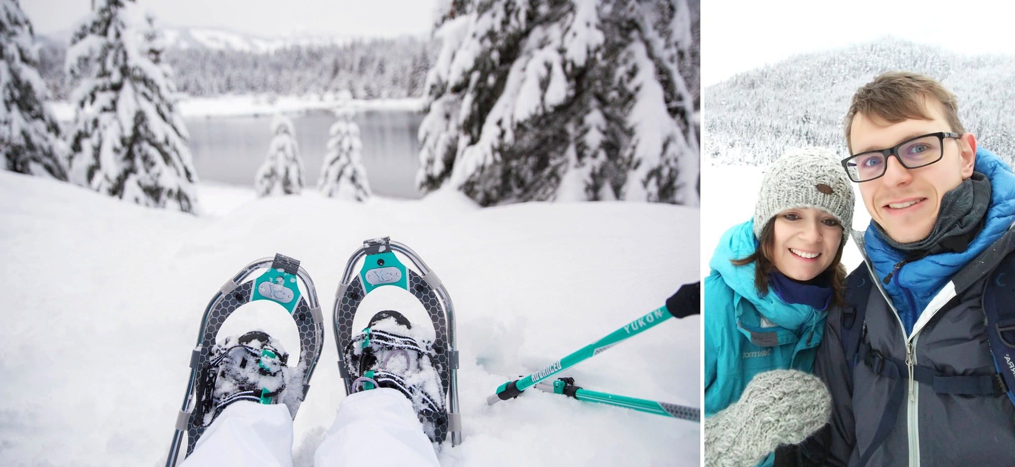 Married Couple Snowshoeing