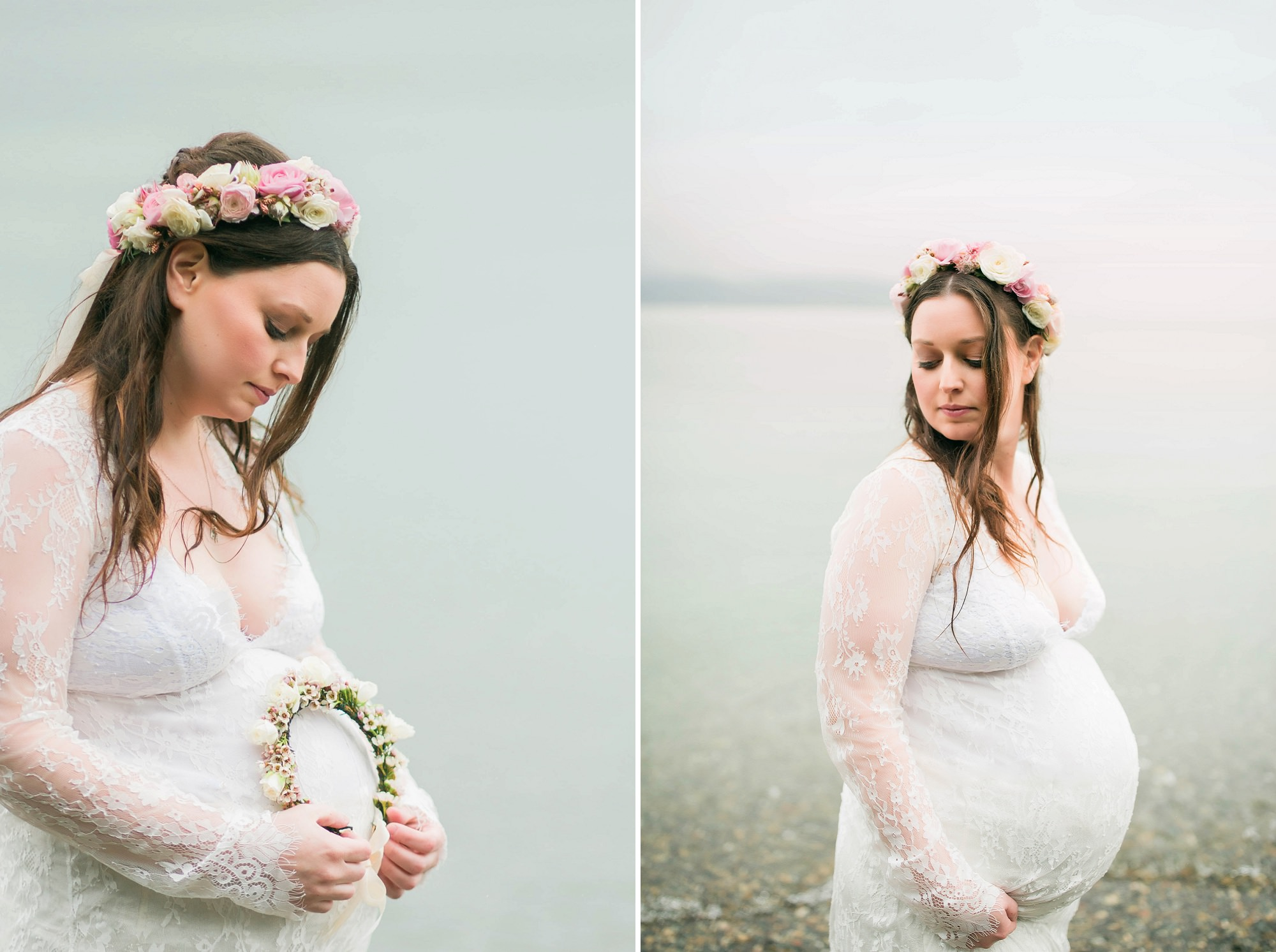 Pregnant lady On The Beach In A Lace Dress