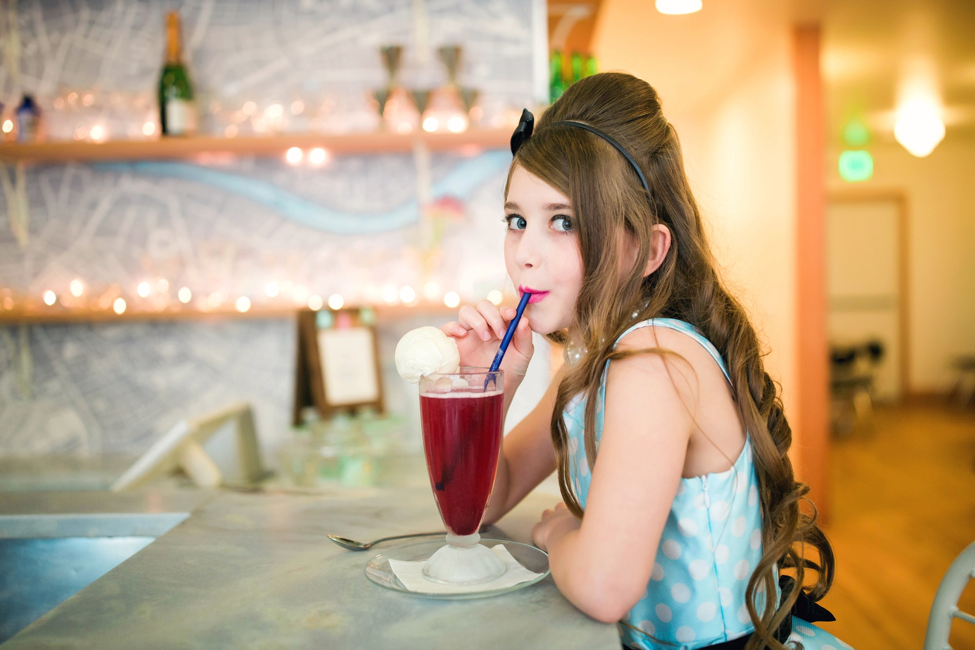 retro children's commercial photo shoot in a ice cream shop