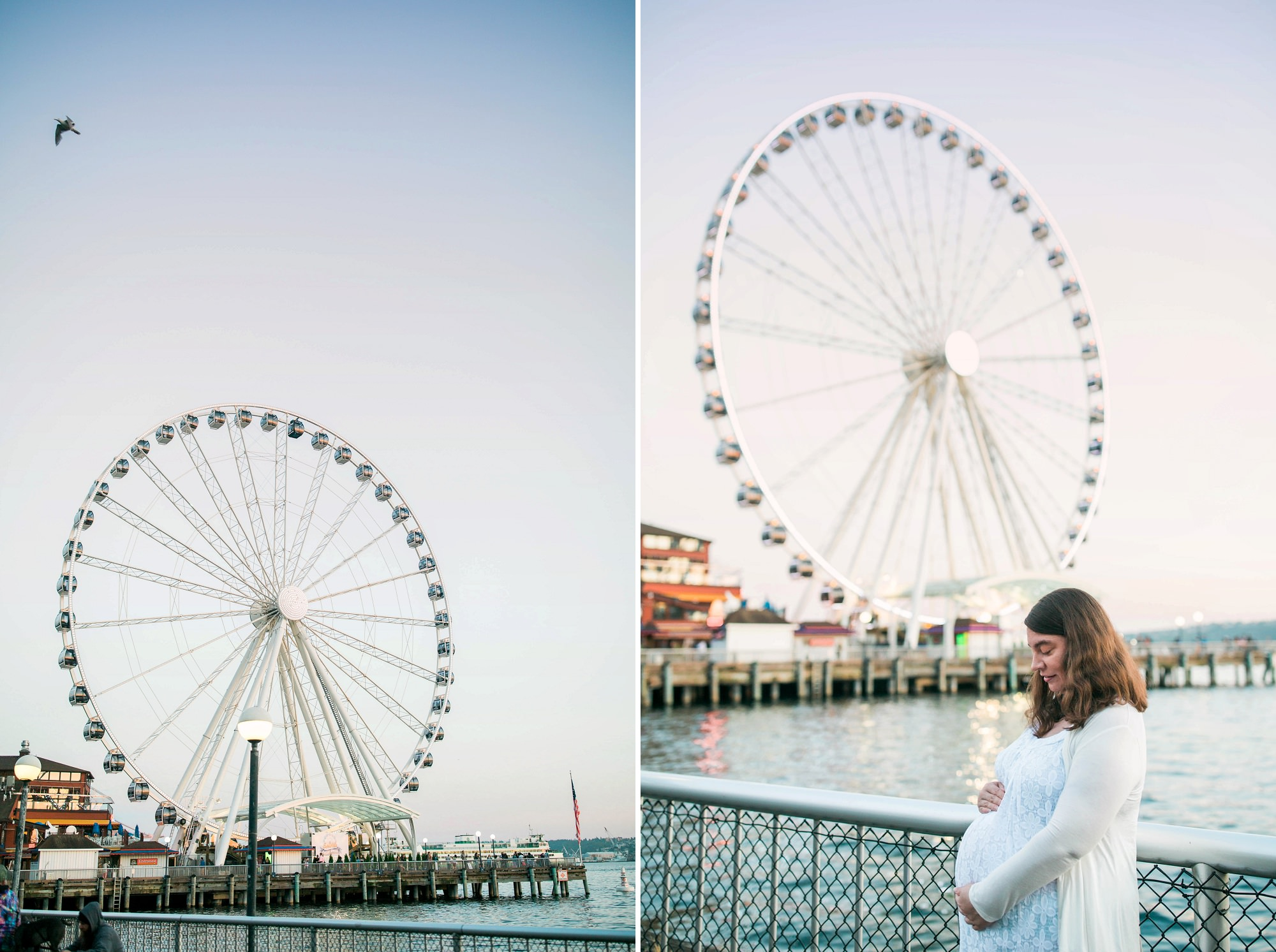 maternity session with seattle's ferris wheel