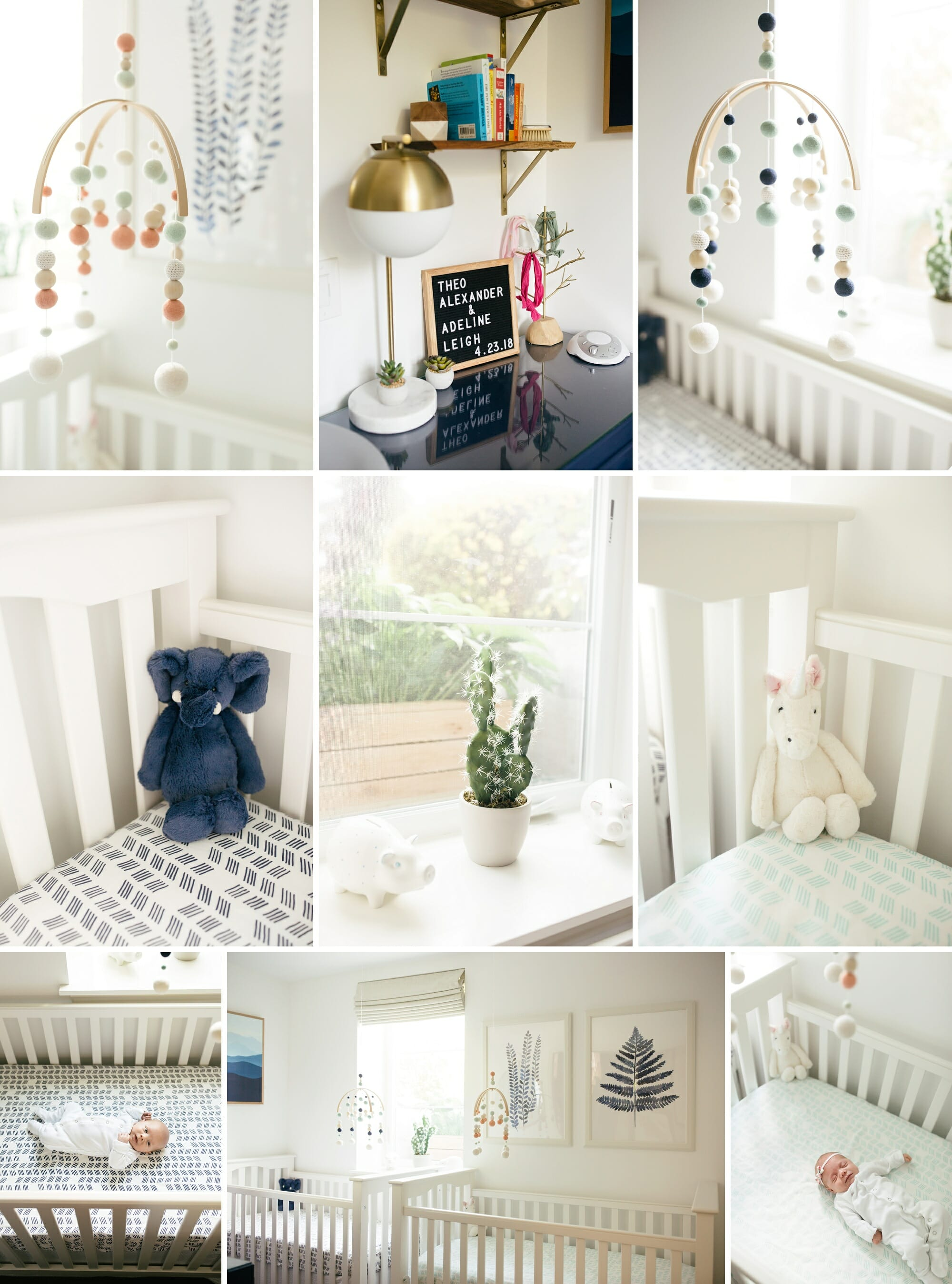 Twin Boy And Girl Baby Modern Nursery