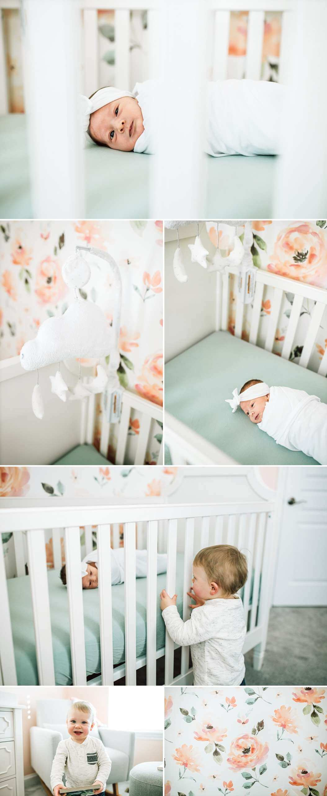 toddler looking at baby sister laying in her crib