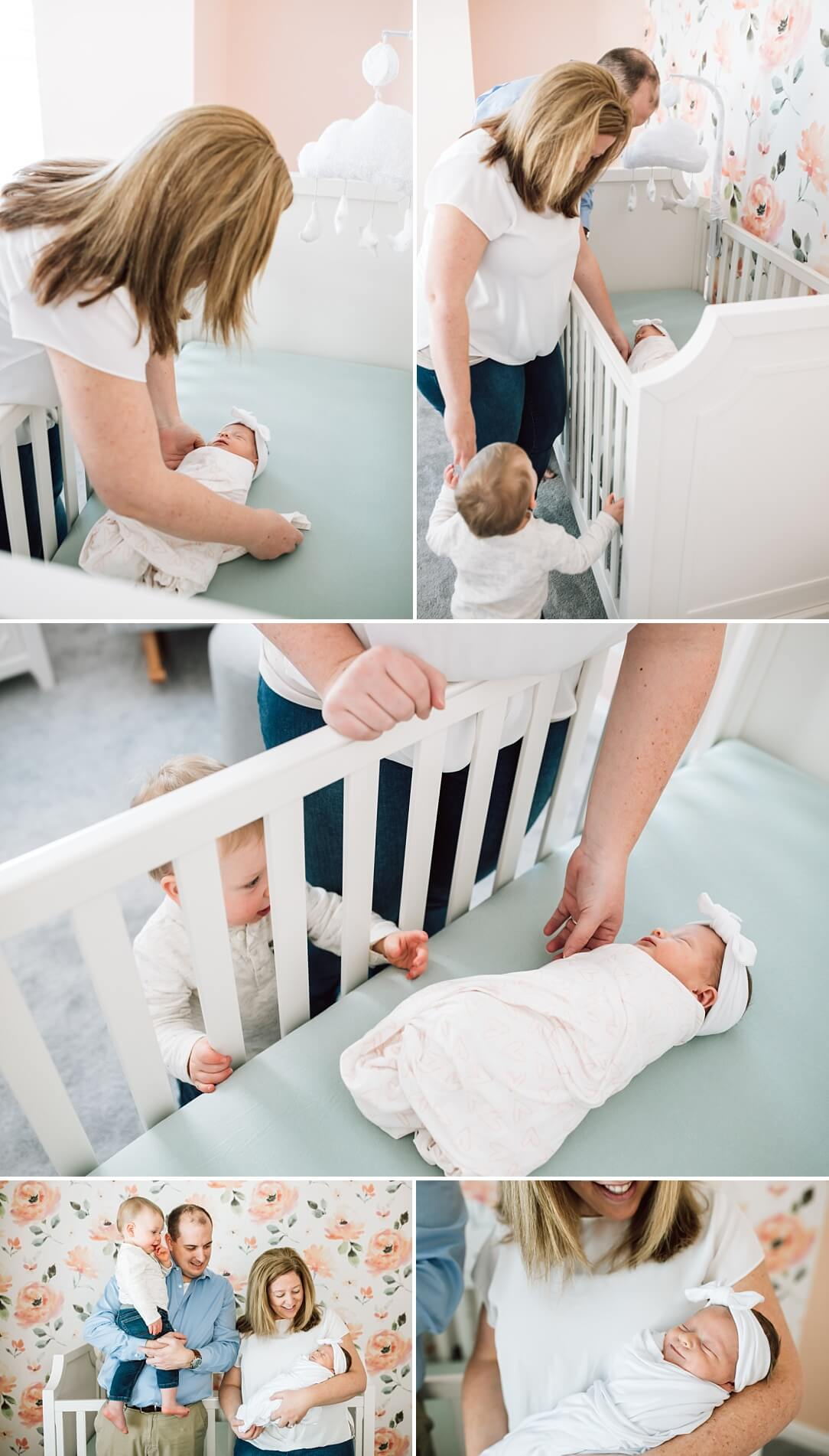 parents and newborn baby in nursery