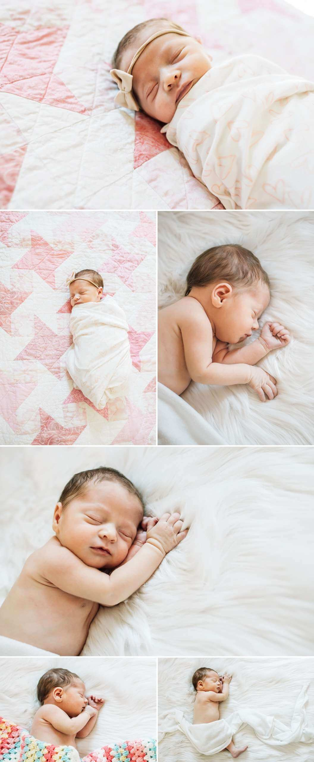 natural poses of newborn baby girl