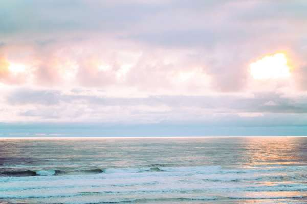 Light and Airy Ocean Sunset Nursery and Home Decor Wall Art Print