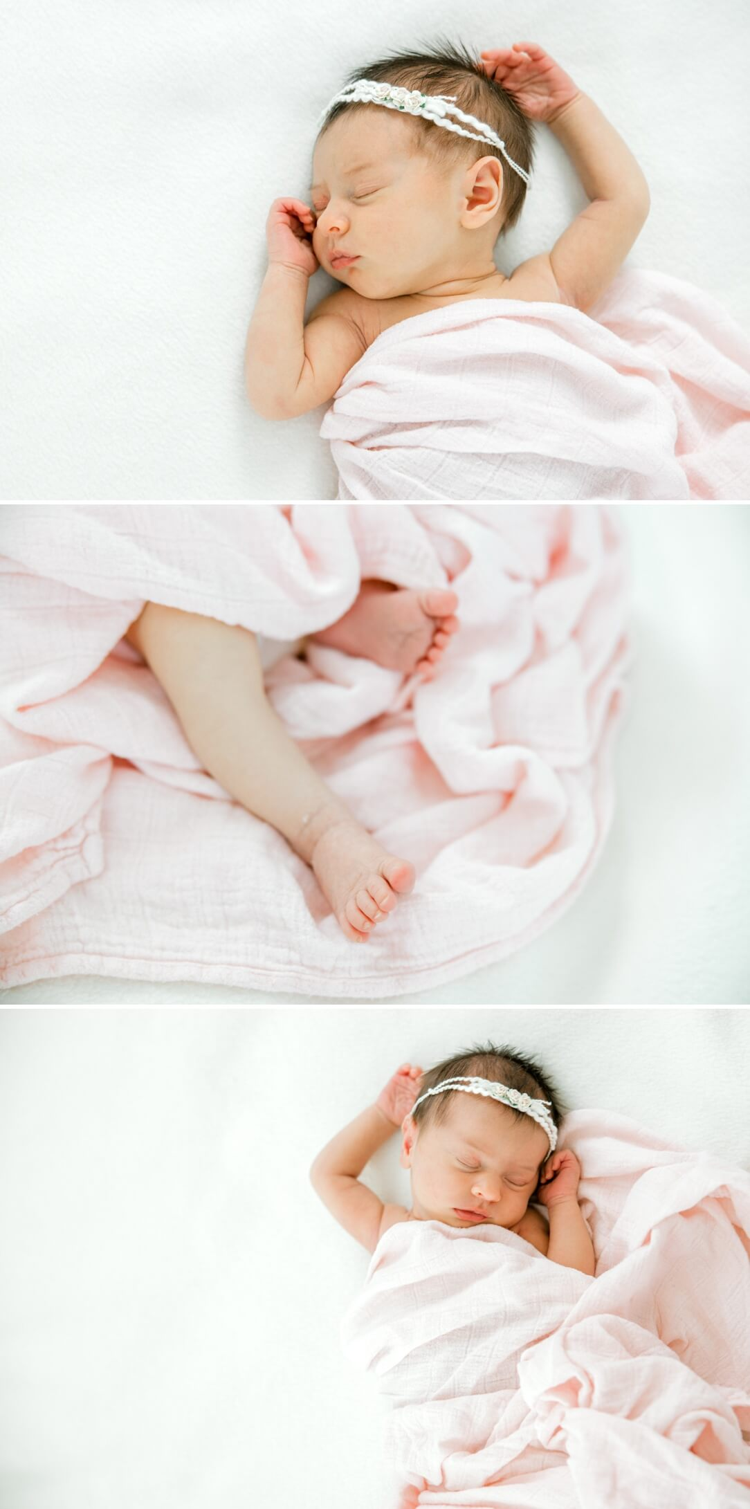 natural and relaxed poses of a newborn baby