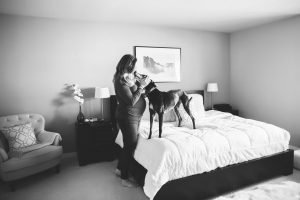 in home black and white maternity photo