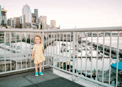 little girl taking photos in Seattle